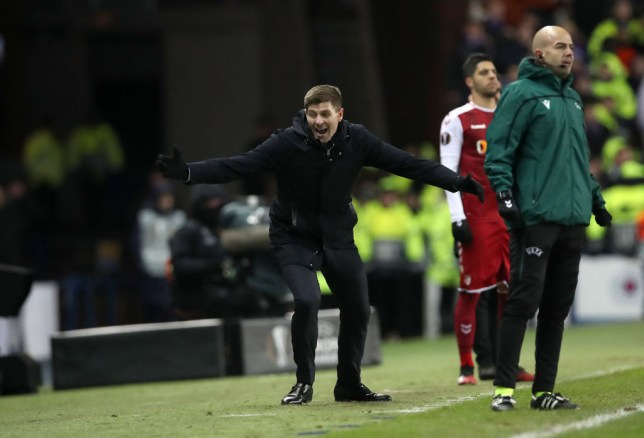 Steven Gerrard, Manager of Rangers FC celebrates during the UEFA Europa League round of 32 first leg match between Rangers FC and Sporting Braga at Ibrox Stadium on February 20, 2020 in Glasgow, United Kingdom.