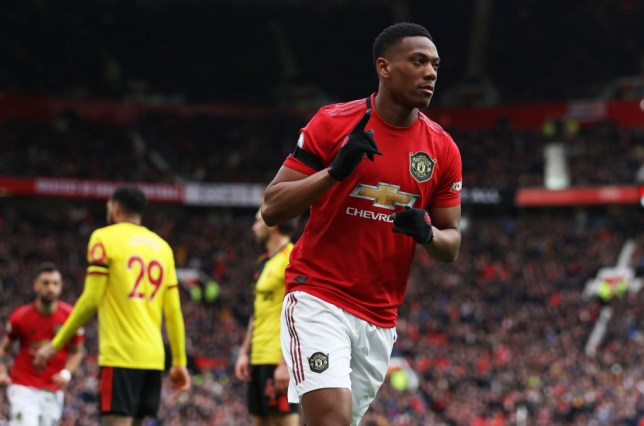 Anthony Martial after scoring for Manchester United against Watford