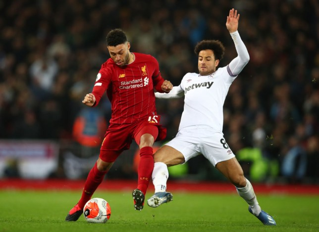 Alex Oxlade-Chamberlain in the second half of Liverpool's win over West Ham