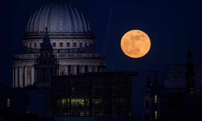 A Super Moon over St Paul's Catherdral
