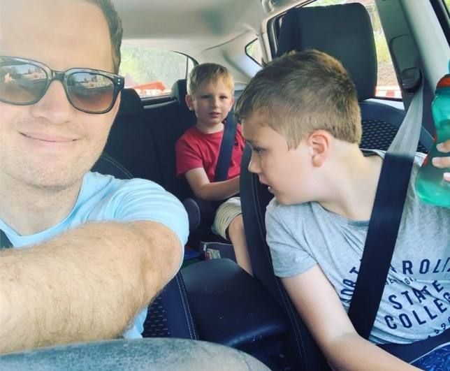 James with Jude and Tommy in the car