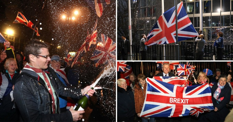 Brexit supporters celebrate in the streets on Brexit Day - January 31, 2020