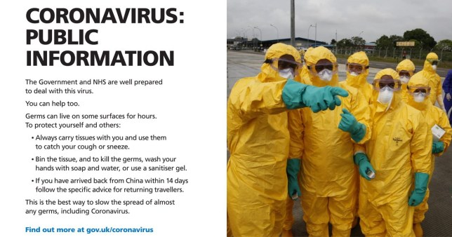 Warning posters and people in Hazmat suits
