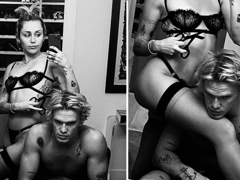 Miley Cyrus strips down to her underwear and poses with scissors with topless boyfriend Cody Simpson