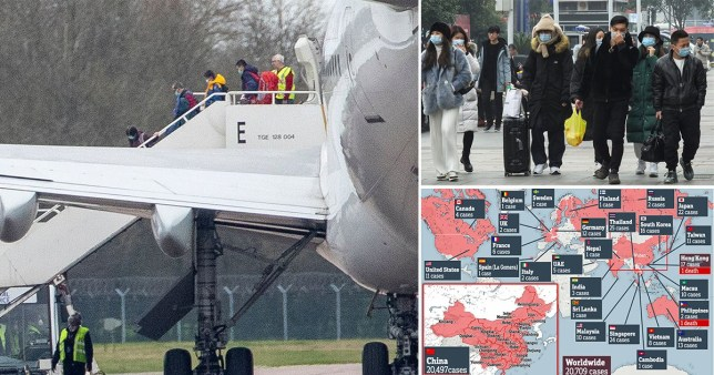 The Plane carrying British nationals from Corona Virus hit Wuhan in China lands at RAF Brize Norton in Oxfordshire, people wearing face masks and map of countries infected by coronavirus