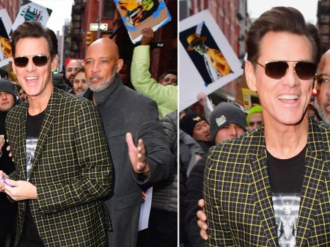 Jim Carrey is cool as a cucumber in New York after that surreal Good Morning America interview