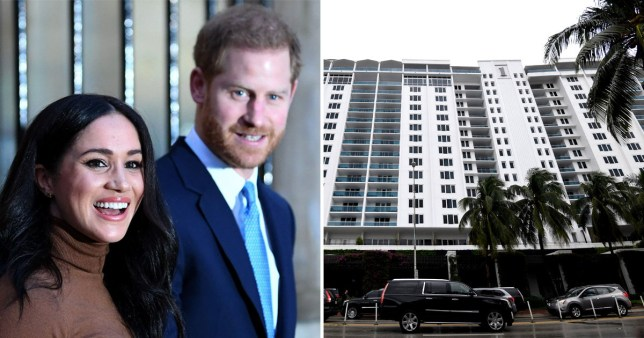 Meghan Markle and Prince Harry (left) and picture of the luxury 1 Hotel in Miami's South Beach.