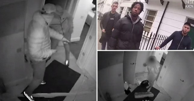 CCTV images of armed gang who tricked their way into escorts' homes in London before tying them up and robbing them at knifepoint