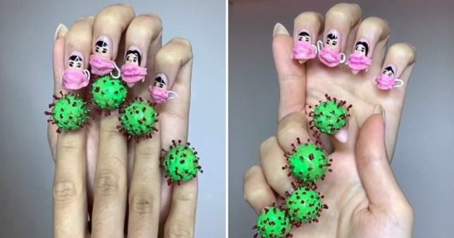 Two photos of the 'Coronavirus' manicure