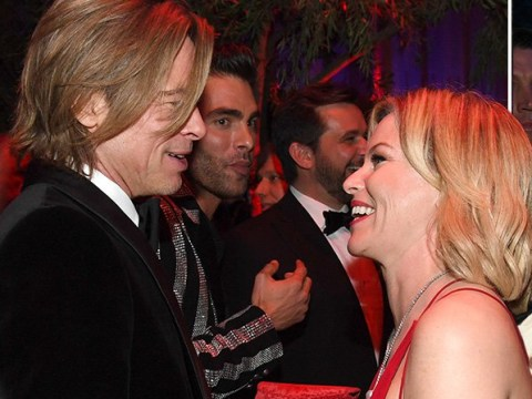 Brad Pitt charms the pants off Kim Kardashian and Elizabeth Banks at Oscars Vanity Fair party