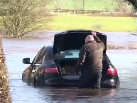 Drivers instantly regret taking on flooded roads during Storm Ciara