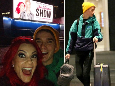 Joe Sugg and Dianne Buswell freak out over seeing themselves on huge billboard… after playing it cool while leaving final Strictly Live Tour show