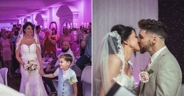 Zoe with Jordy, and with Andy, kissing, after they said their vows