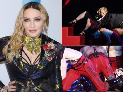 Brit At 40 viewers cringe watching Madonna getting yanked down the stairs at the Brit Awards 2015