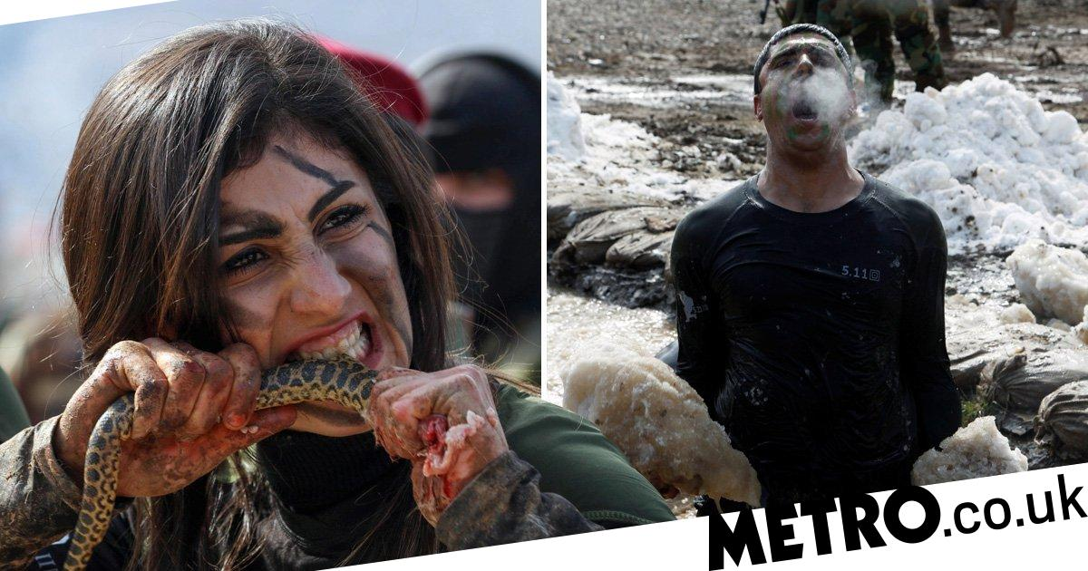 Kurdish soldiers tear apart snakes and rabbits with teeth for training ceremony