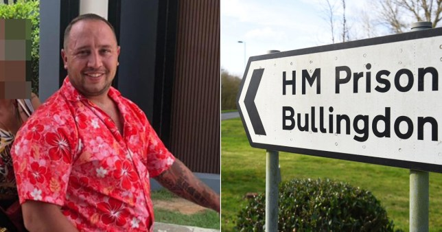 Mark Rumble, 31, who was extradited to the UK from Thailand charged with conspiracy to supply class A drugs- which he denies - and a sign pointing to HMP Bullingdon