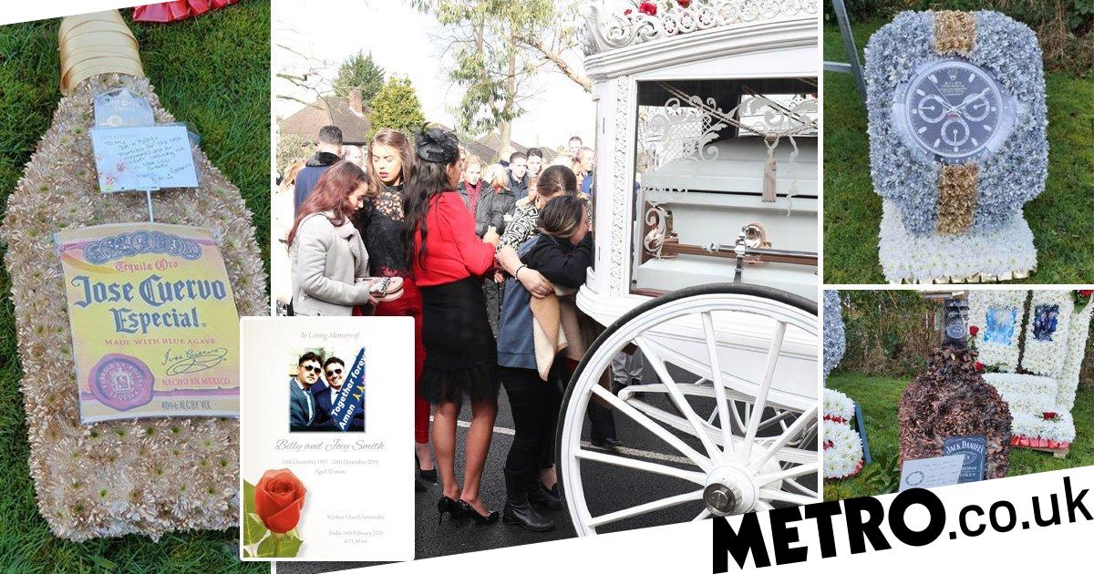 Gypsy Wedding suicide twins get whisky and Rolex floral tributes at funeral