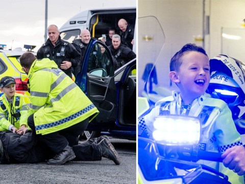 Police stage fake arrest to make dream come true for seven-year-old boy who beat cancer