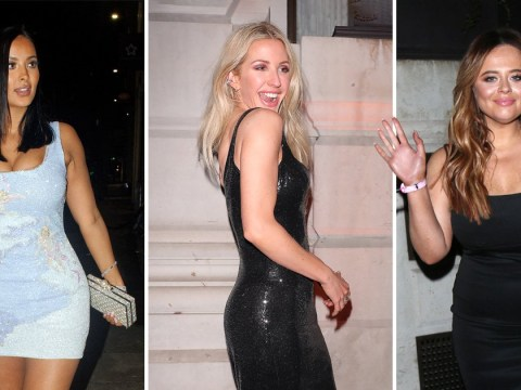 Ellie Goulding gets real flirty in leather as Mel C, Emily Atack and Maya Jama bring the glam to Universal's Brits 2020 bash