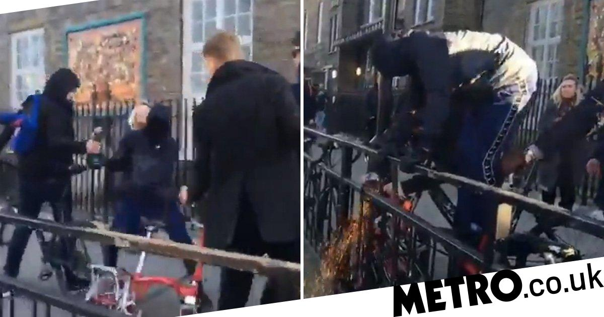 Bike thief swings angle grinder at man trying to stop him