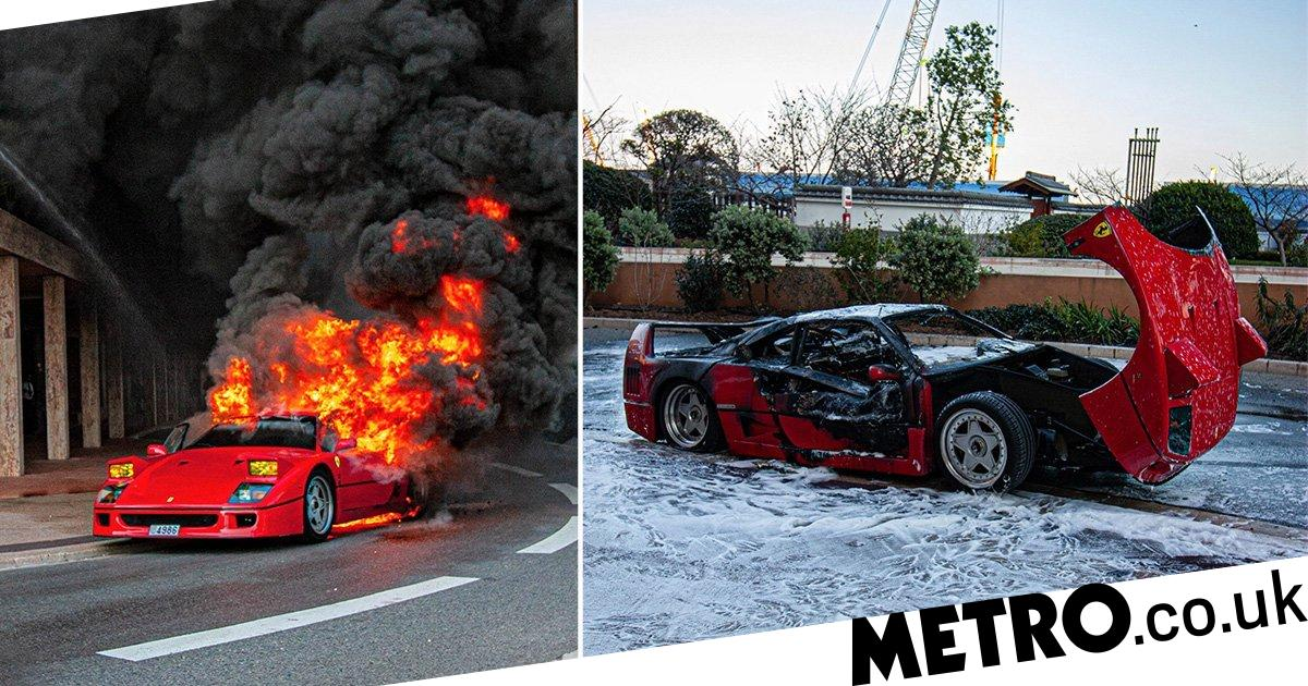 Moment rare Ferrari worth £1,000,000 bursts into flames