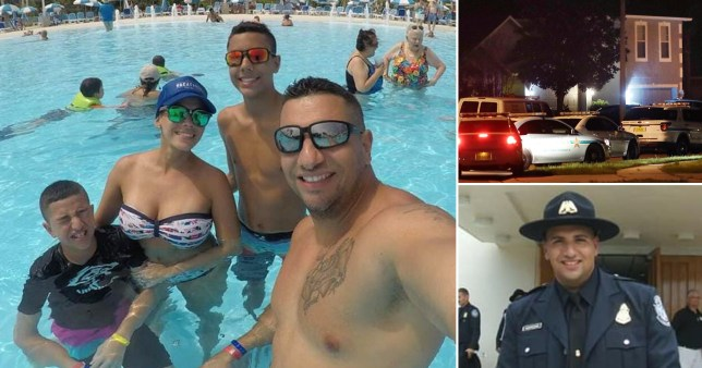 A US border guard Ezequiel Almodovar with wife Marielis Soto, 38 and sons Ezequiel 'Zeke' Almodovar, 16, and Gabriel Almodovar, 12 on holiday - a picture of him in uniform and the scene outside his home in Bithlo, east of Orlando, Florida, where he allegedly shot dead his family