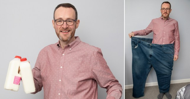 Phil, who weighed 37 stone, pictured wearing his old jeans