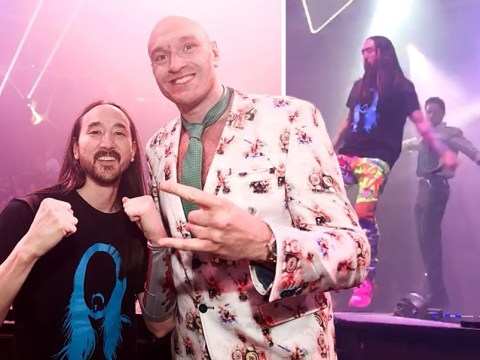 Tyson Fury celebrates Wilder win in Las Vegas with Steve Aoki and Liam Payne… all while wearing a suit with his face printed all over it