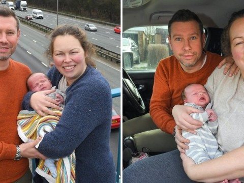 Baby's birthplace registered as J16 of M60 after arriving at 60mph