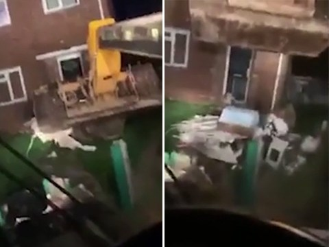 Builders get revenge on fly-tippers by using digger to give back their rubbish