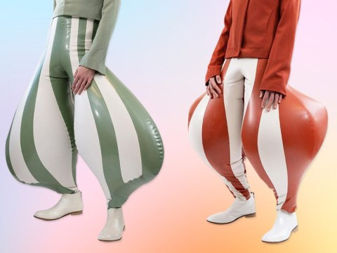 Inflatable latex trousers are here and people think they look like 'ball sacks'