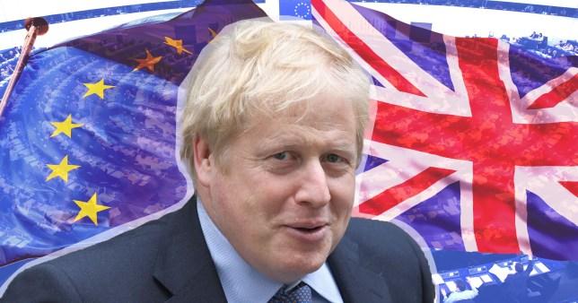 Boris Johnson against EU and Union Jack flags