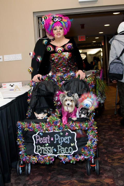 A person dressed like in a futuristic, alien-like outfit pushing a stroller with several dogs in it ,in matching outfits