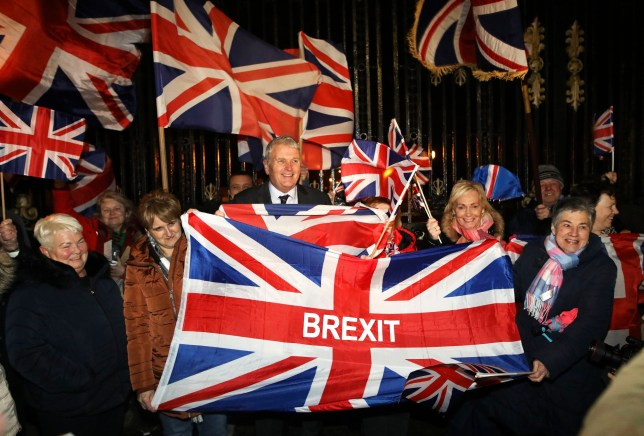 Brexit supporters celebrate during a rally