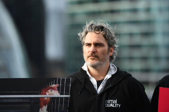 Actor Joaquin Phoenix after supporting the unfurling of a banner on Tower Bridge in central London, during an Animal Equality protest to draw attention to the effects of animal agriculture on the environment. PA Photo. Picture date: Sunday February 2, 2020. See PA story SHOWBIZ Phoenix. Photo credit should read: Victoria Jones/PA Wire