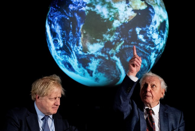 LONDON, UNITED KINGDOM FEBRUARY 4: British Prime Minister Boris Johnson (L) and British broadcaster and naturalist Sir David Attenborough attend the launch of the UK-hosted COP26 UN Climate Summit, which will take place this autumn in Glasgow, at the Science Museum on February 4, 2020 in London, England. Johnson will reiterate the government's commitment to net zero by 2050 target and call for international action to achieve global net zero emissions. The PM is also expected to announce plans to bring forward the current target date for ending new petrol and diesel vehicle sales in the UK from 2040 to 2035, including hybrid vehicles for the first time. (Photo by Chris J Ratcliffe-WPA Pool/Getty Images)