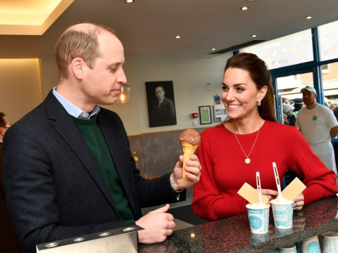 Prince William goes for chocolate sprinkles at famous Welsh ice cream shop