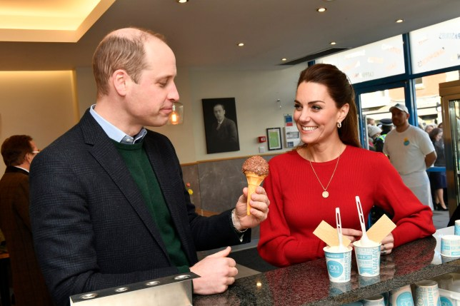 SWANSEA, UNITED KINGDOM - FEBRUARY 04: Prince William, Duke of Cambridge and Catherine, Duchess of Cambridge visit Joe's Ice Cream Parlour in the Mumbles to meet local parents and carers on February 04, 2020 near Swansea, South Wales.The Duchess of Cambridge launched a landmark survey '5 Big Questions on the Under Fives' on the 21st January which aims to spark a UK-wide conversation on raising the next generation. (Photo by Arthur Edwards - WPA Pool/ Getty Images)