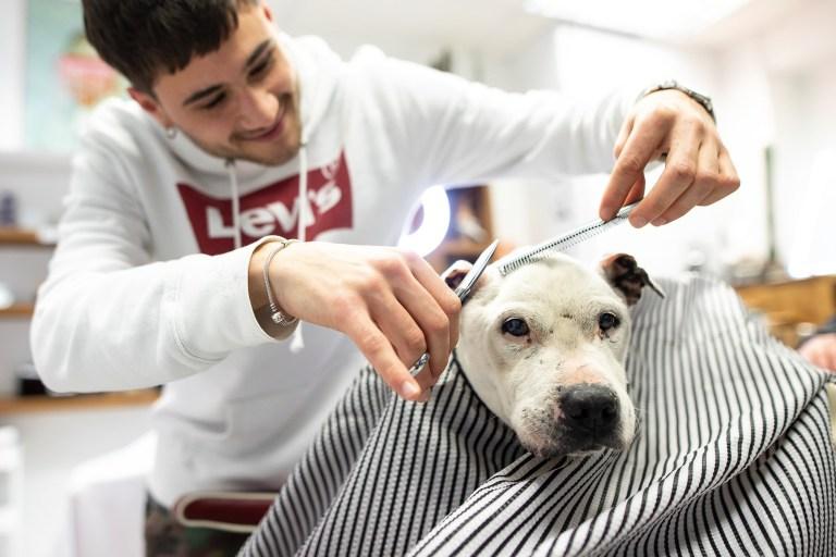 Grandad Zach getting his hair cut in Manchester