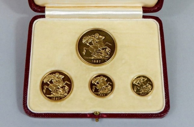 A 1937 coin set comprising a ?5 coin and sovereigns in a leather case, which sold for ?8,000. A selection of gold coins have sold at auction for ?80,000 after being recovered from an empty house in Stroud, Gloucestershire. See SWNS story SWBRcoins. An empty house was found stuffed with gold coins in every drawer and even a sugar bowl - and have now sold for ?80K at auction. The home which had been uninhabited for months was carefully cleared from top to bottom following the initial discovery of a number of gold coins in a safe. But a far larger number of coins was found in random locations throughout the property in Stroud, Glos., including in