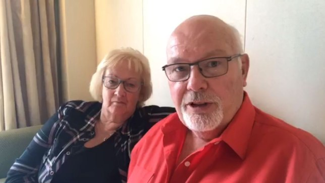 David Abel, 74, from Northamptonshire, 3,700 holidaymakers on board the Diamond Princess where several cases of coronavirus have been discovered. He is pictured with his wife Sally.