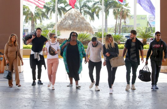 Mandatory Credit: Photo by Beretta/Sims/REX (10551381z) James Lock, Amy Childs, Alison Hammond, Olivia Bentley, Josh Ritchie, Dean Gaffney and Malique Thompson-Dwyer arriving at the 'Celebs Go Dating' TV Show, Hard Rock Hotel, Punta Cuna, Domincan Republic - 08 Feb 2020
