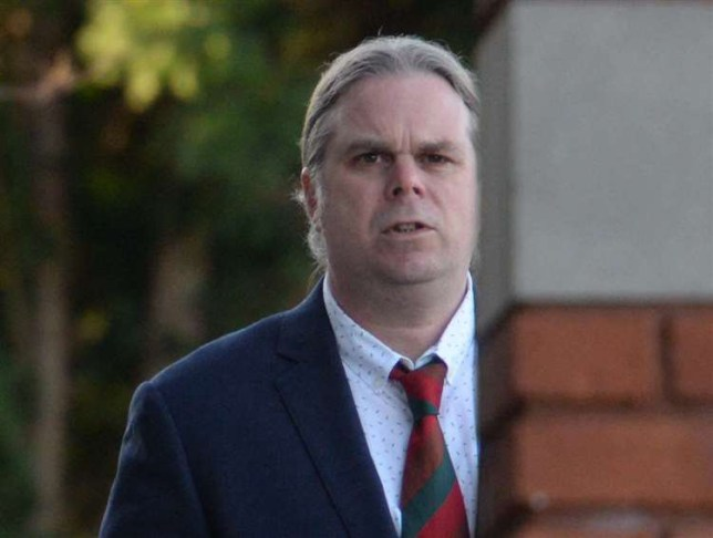 Timothy Davies arriving at Canterbury Crown Court. See SWNS story NNrape; A care home boss raped a drunk woman in a train toilet and even called out to his oblivious wife mid-assault as she stood waiting outside. Predator Timothy Boss tricked his partner into thinking he was comforting the defenceless woman when he dragged her into the cubicle on the Southeastern service to Ramsgate from Canterbury. the short 20 minute journey, he attacked the woman even when she was sick and even called to wife Cheryl when she tried to open the locked door.