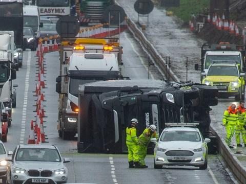 Lorries overturned in 90mph winds as Storm Ciara wreaks havoc on roads