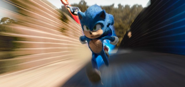 Sonic, voiced by Ben Schwartz, in a scene from Sonic the Hedgehog movie.