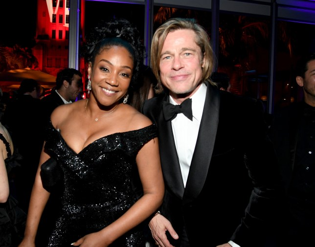 BEVERLY HILLS, CALIFORNIA - FEBRUARY 09: (L-R) Tiffany Haddish and Brad Pitt attend the 2020 Vanity Fair Oscar Party hosted by Radhika Jones at Wallis Annenberg Center for the Performing Arts on February 09, 2020 in Beverly Hills, California. (Photo by Kevin Mazur/VF20/WireImage)