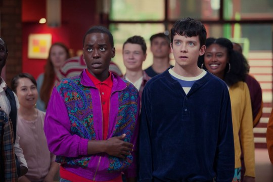 Editorial use only. No book cover usage. Mandatory Credit: Photo by Jon Hall/Netflix/Kobal/REX (10063276u) Ncuti Gatwa as Eric and Asa Butterfield as Otis 'Sex Education' TV Show Season 1 - 2019 A teenage boy with a sex therapist mother teams up with a high school classmate to set up an underground sex therapy clinic at school.
