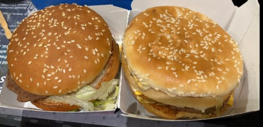 PIC BY Finders Beepers History Seekers /CATERS NEWS (PICTURED BURIED BURGER ON THE RIGHT AND FRESH BURGER ON THE LEFT) A man who buried a Big Mac Meal in his friends garden dug it up over a year later and ATE it to celebrate his 40th birthday. Matt Nadin, from Barnsley, South Yorkshire, bought the meal, complete with fries and chocolate milkshake, from his local McDonalds back in November, 2018. With help from his friend, Andy Thompson, the pair put the meal in a Tupperware box and buried it in Andys back garden just before Matts 39th birthday. The dad-of-three intended to dig it up on his 40th birthday in November last year but only recently found time to retrieve the meal - meaning it had been left deep underground for 14 months. Undeterred and determined to celebrate his milestone birthday with a stunt he would never forget, Matt took the mouldy meal to the McDonalds restaurant where he had originally bought it and proceeded to eat the lot. SEE CATERS COPY.