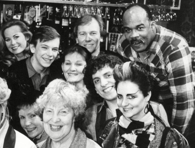 Group shot of the EastEnders cast from 1985