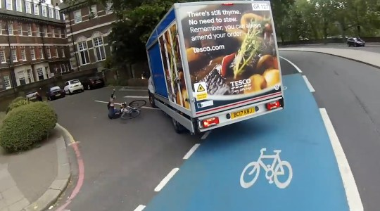 GRABS: Tesco driver collision with biker